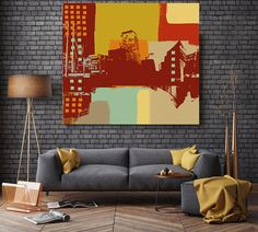 Cosmopolitan and modern city, Large Architectural Cityscape Canvas Art Print. Rustic Brown URBAN Canvas Art Print up to 48 by Irena Orlov Wall Art Decor for Home, Office or Hotel  URBAN ART  With a harder approach and industrial elements, my urban art is ideal for the loft owner or edgy boutique Urban Rustic Painting Print on Canvas – 8 Sizes Available  So striking, this is my Urban Painting – a canvas print of my original artwork. I also give you the option to have the print hand…