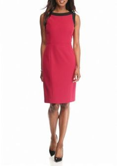Kasper  Petite Contrasting Trim Sheath Dress