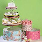 Paper Mache hat boxes from #hobbylobby, lids used for cake plates, boxes used for napkins, etc. LOVE