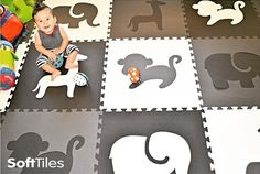 SoftTiles Safari Animals with Borders Black, Gray, White is the perfect play mat for creating a modern designer playroom, nursery, or kids room. The monochromatic look of this children's soft play mat                                                                                                                                                                                 More