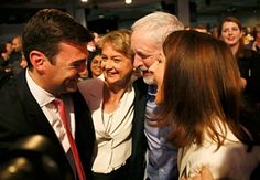 Andy Burnham, Yvette Cooper and Liz Kendall congratulate Jeremy Corbyn.