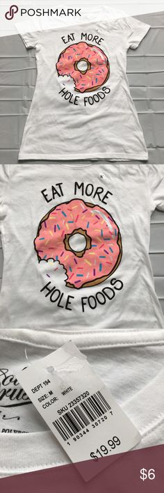 "Nwt Donut Graphic Tee Brand new with attached tags. Junior's size medium. Measures 26"" shoulder to hem. 16.5"" armpit to armpit. Retail $19.99.   Will not be priced lower. No offers accepted. Tops Tees - Short Sleeve"