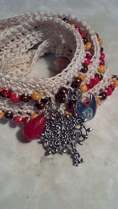 Crochet beaded wrap bracelet... Free pattern!
