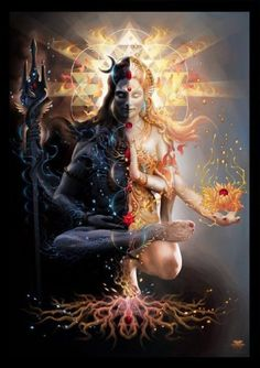 """Shiva, meaning """"The Auspicious One,"""" is regarded as the """"Destroyer"""" within the Hindu Trinity and is closely associated with Kali, his consort. The perfect balance of masculine and feminine. Shiva and Parvati. Shiva and Shakti Shiva Shakti, Rudra Shiva, Aghori Shiva, Kali Shiva, Tantra, Indian Gods, Indian Art, Visionary Art, Divine Feminine"""