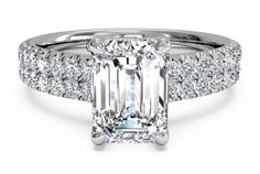 Double French-Set Band Engagement Ring - in Platinum (0.59 CTW)