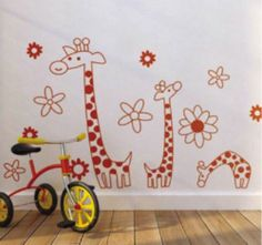 Giant Giraffe Flower Home Mural Art Vinyl Kids Nursery Sticker Wall Decal L 7080 | eBay