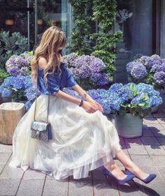 feminine tulle skirt ballerina style blue and purple peonies denim pointe heels