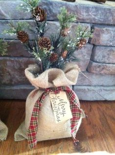 Burlap Sack Of Pine Pinecones Country Primitive Christmas Decor
