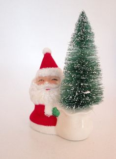 ONE Christmas Decoration with Santa and Tree  by TheBakersDaughter, $15.00