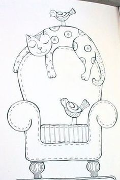 Embroidery patterns cat appliques ideas for 2019 – Embroidery 2020 Vintage Embroidery, Embroidery Art, Embroidery Stitches, Machine Embroidery, Embroidery Designs, Cat Applique, Applique Patterns, Quilt Patterns, Broderie Primitive