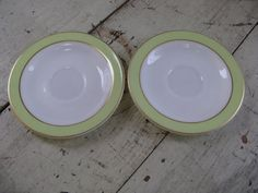 pyrex lime green gold band 6 inch milk glass by rivertownvintage, $14.95