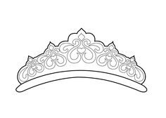 Beautiful tiara coloring page for girls, printable free
