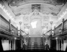 The stairway of the Grand Salon on the steamer, City of Detroit III.