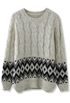 Cable Knit Zig Zag Sweater in White