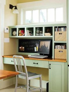 Built-in dividers make organization easy in this small office nook located in a Seattle Craftsman. | myhomeideas.com