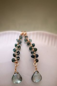 Faceted Watermelon Tourmaline 14k Gold Fill Wire Wrapped Earrings by Belle Bijou Atelier