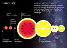 The planets of our solar system were compared in relative size using pieces of fruit in an image by Avi Solomon using data from an episode of the BBC'sStargazing Live. The Earth is a cherry tomato...