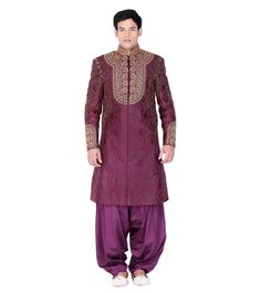 & Embroidered Long from By at Wedding Sherwani, Embroidered Silk, Indian Ethnic, Study, Purple, Blouse, Coat, Women, Fashion