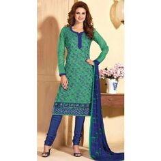 Unstitched Salwar Suit-Green with Blue Color Cotton Embroidery Work Unstitched Salwar Kameez Suit By Thambi shopping