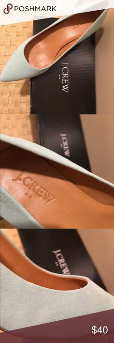 J. Crew suede kitten heels | sizes 6.5, 7 New in box, color is sea mist.  I have sizes 6.5, 7 women's. Apologies, no trades. J. Crew Shoes Heels
