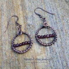 Garnet Hoop Earrings Handcrafted Antiqued Wire Wrapped Copper