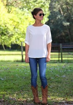 Cowboy boots + jeans + nice white top...Simple and really cute!