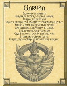 Garuda Prayer Poster- Born of Hindu and Buddhist mythology, the Garuda Prayer Poster shows Garuda, who is a bird-like creature. Mythological Creatures, Fantasy Creatures, Mythical Creatures, Magick, Witchcraft, Wiccan Spells, Wiccan Sabbats, Magic Spells, Mythical Birds
