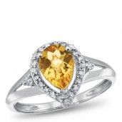 Sterling Silver, Citrine and Diamond Ring, 1/4 ctw.