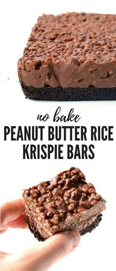Butter Rice Krispie Bars Amazing no bake Peanut Butter Rice Krispie Bars with an Oreo crust. You only need 6 ingredients to make these gorgeous chocolate treats! Recipe from Amazing no bake Peanut Butter Rice Krispie Bars with an Oreo crust. Rice Krispie Bars, Peanut Butter Rice Krispies, Rice Krispie Treats Chocolate, Rice Krispies Treats, Recipes Using Rice Krispies, Peanutbutter Rice Crispy Treats, Recipes With Cereal, Healthy Rice Krispie Treats, Think Food