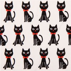 cream Kokka animal oxford fabric with black cats from Japan 1