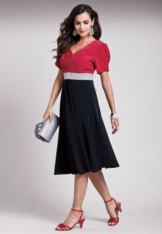 a0ceab89d3eff Colorblock Empire Cocktail Dress