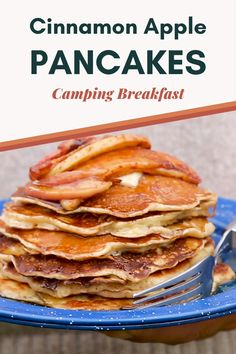 These Cinnamon Apple Pancakes are an easy and flavor packed camping breakfast! With apple cider in the batter, and soft cinnamon apples on top, this is a camping recipe that the whole family will love. Apple Breakfast, Camping Breakfast, Breakfast With Apples, Camping Pancakes, Breakfast Pancakes, Apple Pancake Recipe, Pancake Recipes, Pancake Toppings, Pancake Flavors