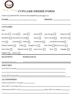 Cake Order Form Template Free  Sample Order Templates