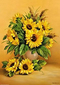 Sunflower Garden, Sunflower Art, Watercolor Flowers, Watercolor Paintings, Sunflowers And Daisies, Sunflower Drawing, Sunflower Pictures, Sunflower Wallpaper, Container Flowers