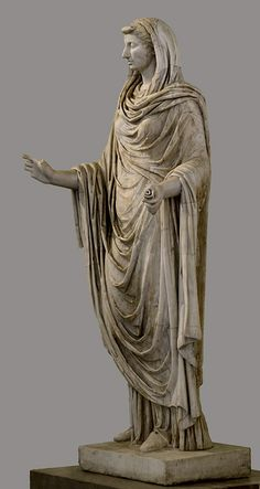 Octavia the Younger - sister of Augstus, mother of M. Claudius Marcellus, wife of Mark Anthony, - as a Sybil, Roman statue (marble), 1st century AD, (Museo Archeologico Nazionale, Naples).