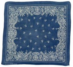 vintage blue bandana with Native American motifs