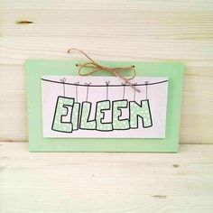 EILEEN green mint whiteChildren's Wall Names by bluepeppertime