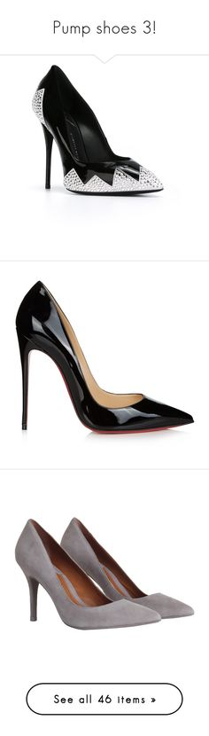 """Pump shoes 3!"" by joanna-tabakou ❤ liked on Polyvore featuring shoes, pumps, leather pointed toe pumps, pointy toe stiletto pumps, leather pumps, color block pumps, high heel stilettos, heels, sapatos and christian louboutin"