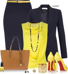 """Yellow and Navy"" by exxpress on Polyvore"