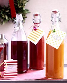 Homemade Holiday Drink Mixers: Bloody Mary, Cranberry Cocktail and Apricot-Ginger Fizz- complete with drink recipe gift tags. Thanks, Martha Stewart! Homemade Food Gifts, Edible Gifts, Homemade Christmas Gifts, Holiday Gifts, Christmas Presents, Diy Gifts, Holiday Treats, Party Gifts, Diy Christmas