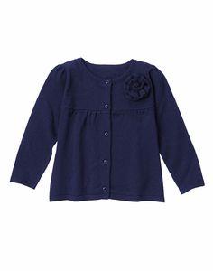 NWT Gymboree SPRING PREP Baby Girls 6-12M Navy Rosette Cardigan Sweater Long Slv