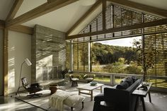 Photo 10 of 17 in A Farmhouse-Inspired Home in the Hudson Valley Taps Into the Power of Prefab - Dwell Concrete Fireplace, Concrete Floors, Prefab Homes, Modular Homes, Board Formed Concrete, Lake Flato, Prefab Buildings, Corner House, House Floor Plans