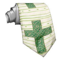 Celtic Cross Spring (Personalized Neck Tie) - Your initials in gold tones along with this beautiful original rendition of a Celtic Cross in green & gold set against a happy, springtime green pattern of stripes & polka-dots on an ivory background make this a perfect necktie for anyone who's Irish, Christian, an Alumni or fan of Notre Dame University, or Celtic Knot lover! #celticcrossneckties #irishnecties #christianneckties #celticknotneckties