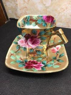 RARE Antique Nippon Japan Bone China Demitasse Tea Cup & Saucer Floral Gold Rose by natalie-w Tea Cup Set, My Cup Of Tea, Tea Cup Saucer, Tea Sets, Antique Tea Cups, Vintage Teacups, Teapots And Cups, China Tea Cups, Tea Service
