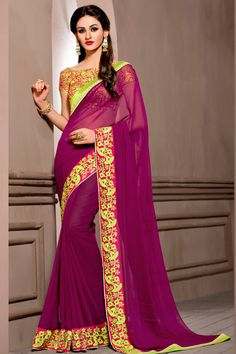 Buy Now Green Pure Georgette Embriodery Work Designer Partywear Saree. More Collection of Designer Wedding Partywear Saree On Offloo .