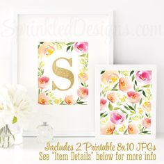 Name Initial Monogram Sign - Letter S - Printable Baby Girl Nursery Decor, Wall Art, Floral Home Decor Art Print, Pink Gold Glitter JPG by SprinkledDesign