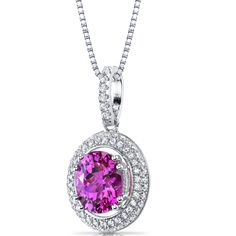 Women's Sterling Silver Pave Halo Pink Sapphire Pendant Necklace