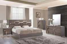 Adel Bedroom Set  Platform Bed in High Gloss Grey & Zebra Wood In The Adel Collection By Global Furniture Introducing the Adele. The spacious headboard exudes texture and glamour making it a must have focal point for your master suite. The bed features LED lighting throughout the curved detailing of the headboard, a high gloss grey rails providing the perfect contrast and a zebra wood grain finish to finish the look