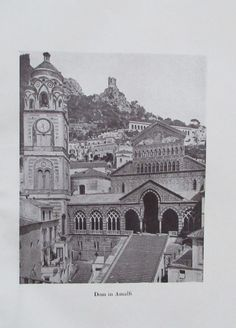 1918 DOM IN AMALFI alter Druck antique Print Architektur Kirche | eBay