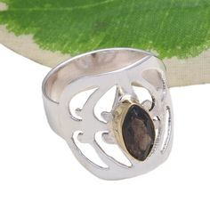 925 SOLID STERLING SILVER SMOKEY CUT STONE EXCLUSIVE RING 4.28g DJR3701 #Handmade #Ring